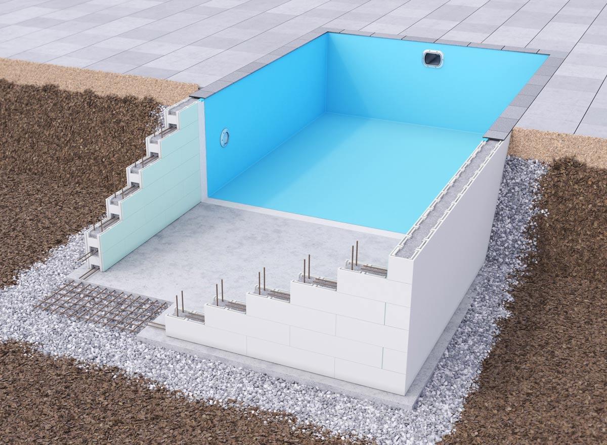En pool med robust konstruktion som är lätt att bygga