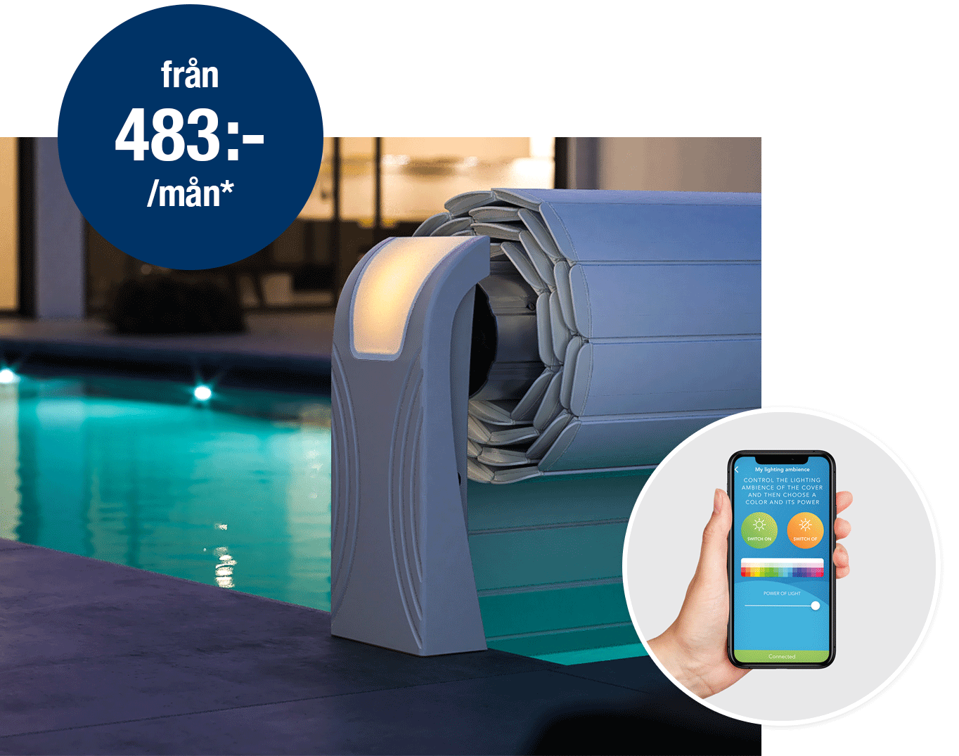 Lamelltäckning av pool som styrs via app